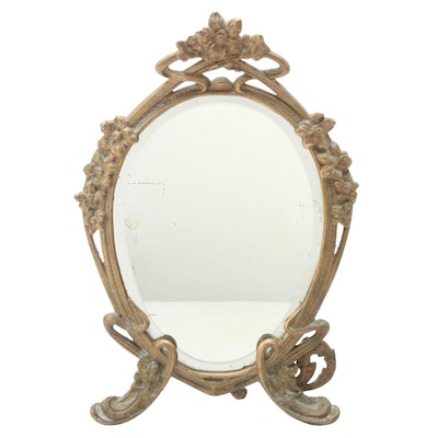 Art Nouveau Style Gilt Brass Easel Frame Vanity Mirror, Early to Mid-20th C.