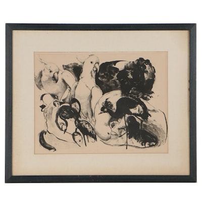 """Cicchinelli Lithograph """"Les Oiseux a la Zoo,"""" 1969"""