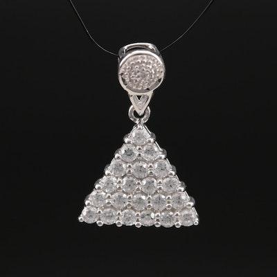 Sterling Zircon Triangular Pendant