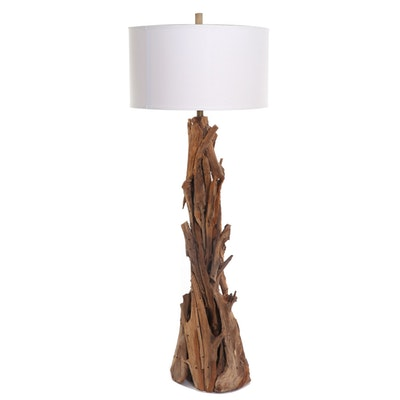 Driftwood Floor Lamp with Fabric Drum Shade