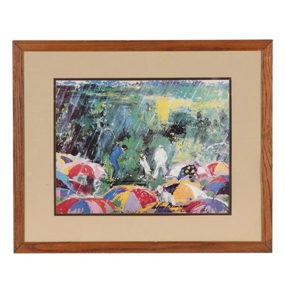 """Offset Lithograph After LeRoy Neiman """"Arnie in the Rain"""""""