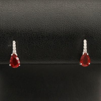 Sterling Opal and Zircon Earrings