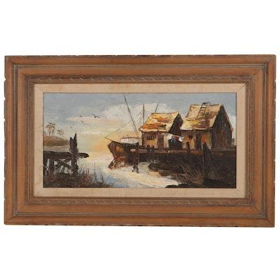 Harbor Scene Oil Painting, Circa 1970