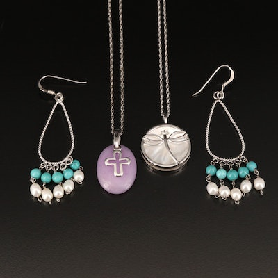 Sterling Dragonfly and Cross Necklaces with Earrings Including Pearl and Quartz