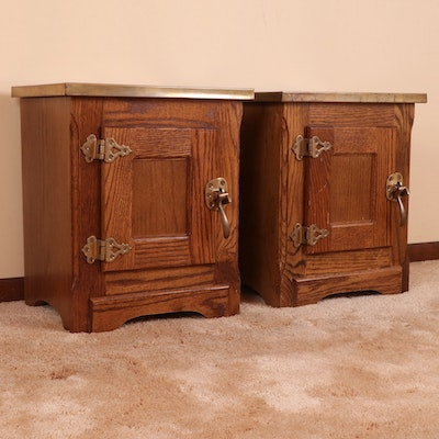 Pair of Oak and Brass Lift-Top Ice Box Style End Tables