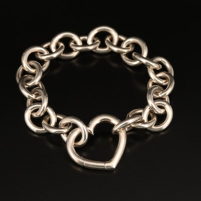 Tiffany & Co. Sterling Heart and Cable Link Bracelet