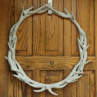 Faux White Antler Wreath