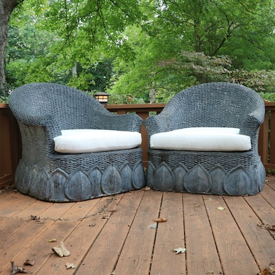 Pair of Cast Resin Outdoor Club Chairs