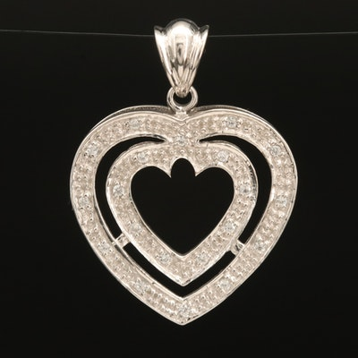 Sterling Zircon Concentric Heart Pendant