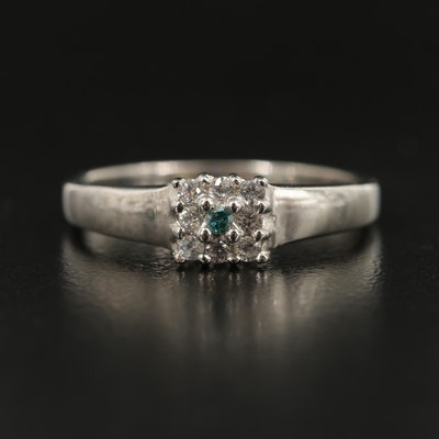 Sterling Silver Diamond and White Zircon Ring