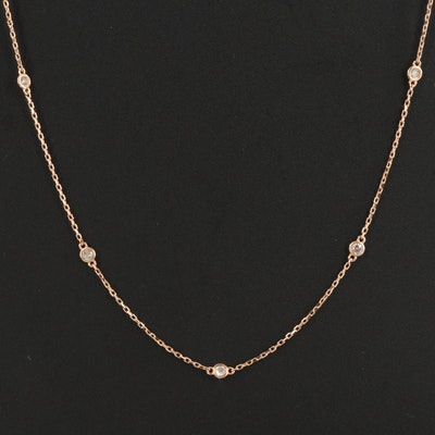 18K Rose Gold 0.27 CTW Diamond Cable Chain Station Necklace