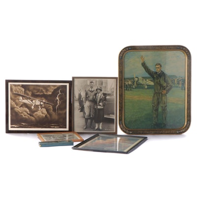 Spirit of St. Louis, Charles Lindbergh Pencil Case and Framed Lithographs