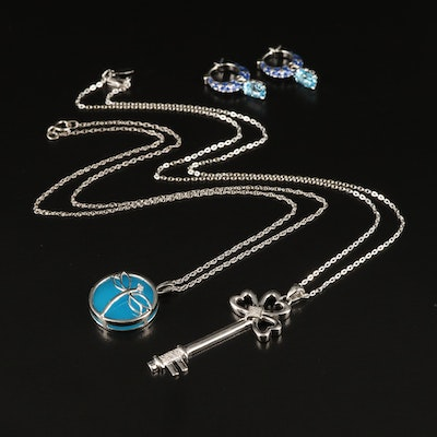 Sterling Necklaces and Earrings with Quartz, Key Pendant and Diamond