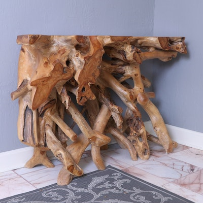 Teak Root Wood Console Table