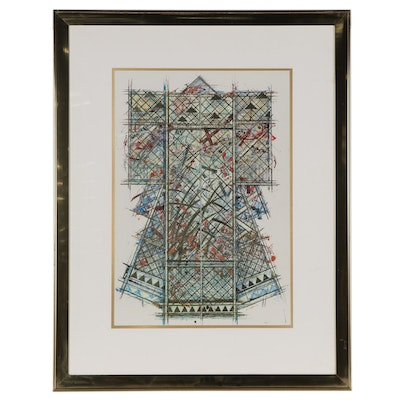 Embellished Offset Lithograph After William Gatewood, Late 20th Century