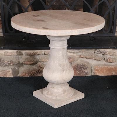 Farmhouse Style Whitewashed Pine Top Baluster Side Table