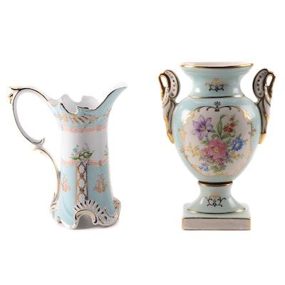 Royal Danube Porcelain Gilt Pitcher and Other Floral Motif Amphora Vase
