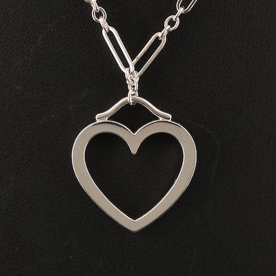 Tiffany & Co. 18K Heart and Figaro Chain Necklace