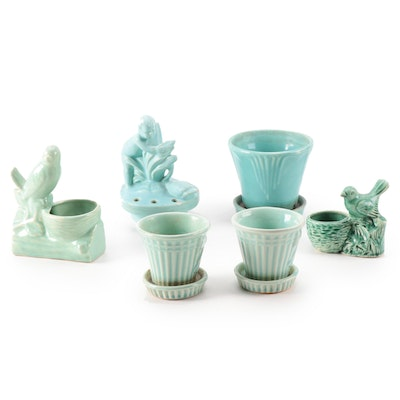Shawnee Pottery Ribbed Bow Flower Pots and Other Figural Frogs and Planters