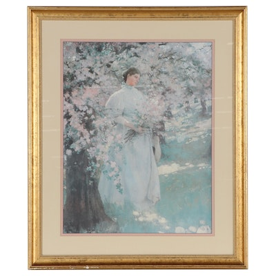 Offset Lithograph of Woman in Spring Landscape