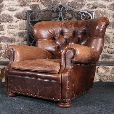 """Ralph Lauren Button-Tufted Leather """"Writer's Chair"""" with Nailhead Trim"""