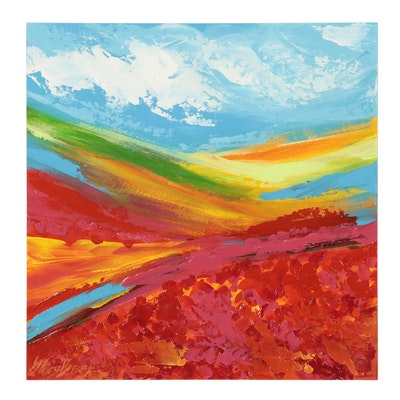 Mary Bray Abstract Acrylic Painting of Field, 2021