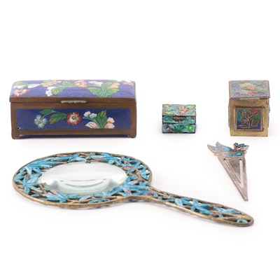 Chinese Cloisonné Trinket Boxes and Magnifying Glass with Sterling Bookmark