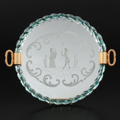 Venetian Glass Etched Vanity Tray with Spiral Cane Rim