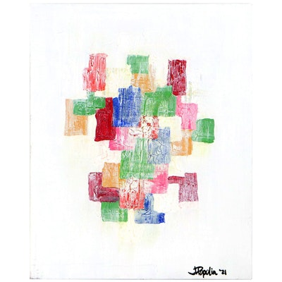 """J. Popolin Abstract Acrylic Painting """"Patchwork Quilt,"""" 2021"""