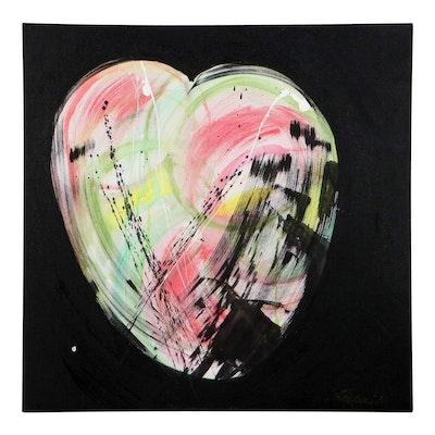 "J. Popolin Acrylic Painting ""Heart of Darkness,"" 2021"