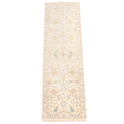 2'5 x 8'2 Hand-Knotted Indo-Turkish Oushak Carpet Runner