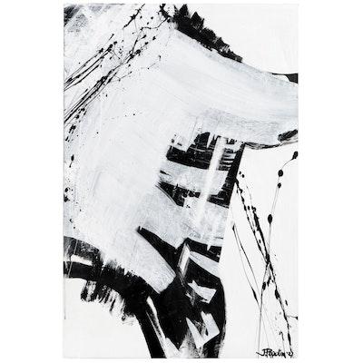 "J. Popolin Abstract Acrylic Painting ""Trestle Bridge,"" 2021"
