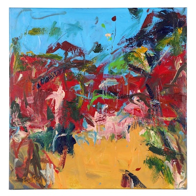 """Robbie Kemper Abstract Acrylic Painting """"Hue Forest,"""" 2021"""