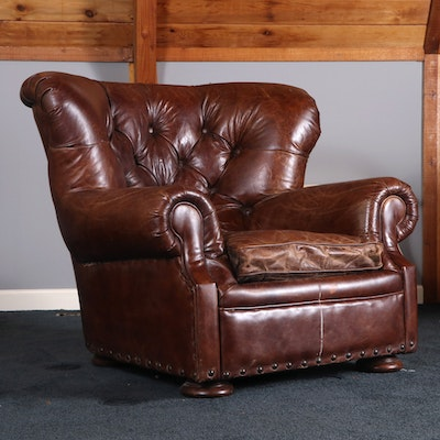 """Restoration Hardware """"Churchill"""" Button-Tufted Leather Club Chair"""