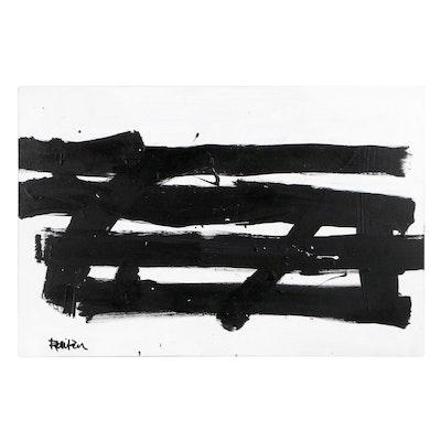 "Robbie Kemper Acrylic Painting ""4 Horizontals,"" 21st Century"