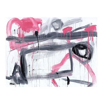 "Robbie Kemper Abstract Acrylic Painting ""Pink & Gray Swirls,"" Circa 2021"