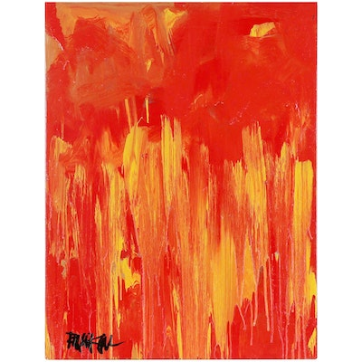 """Robbie Kemper Abstract Acrylic Painting """"Red Yellow to Orange,"""" Circa 2021"""