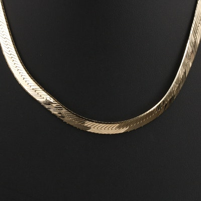 Italian 14K Gold Herringbone Necklace
