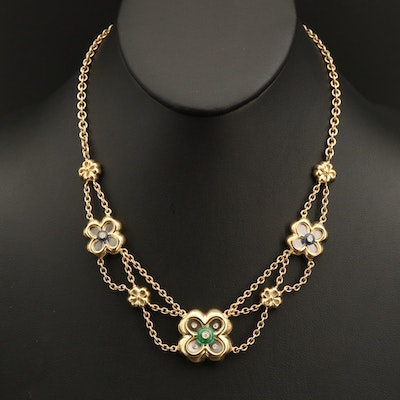 Italian 18K Floral Festoon Necklace with Diamond, Emerald and Sapphire