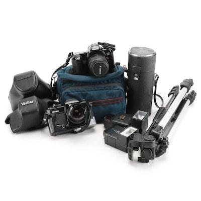 Canon EOS RebelX, Vivitar 450/SLD Cameras, Telephoto Lens, Accessories