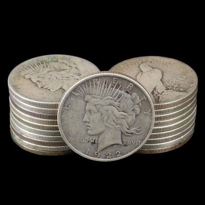 Twenty Silver Peace Dollars