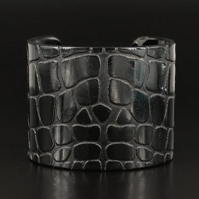 Yves Saint Laurent Crocodile Embossed Cuff