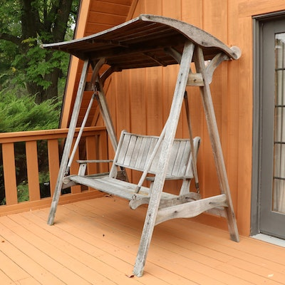 Jensen Jarrah Weathered Wood Porch Swing with Shade Cover