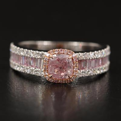 18K 1.45 CTW Diamond Halo Ring with GIA Report