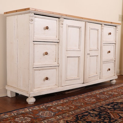 Rustic Style Cream-Painted and Pine Top Buffet