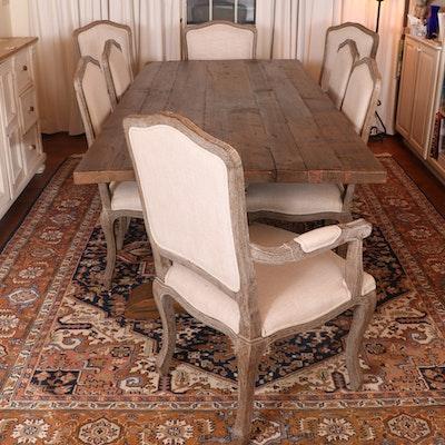 "Arhaus ""Kensington"" Table and Restoration Hardware ""Vintage French"" Oak Chairs"
