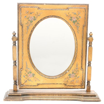 Giltwood Vanity Mirror with Rose Motif, Early to Mid 20th Century