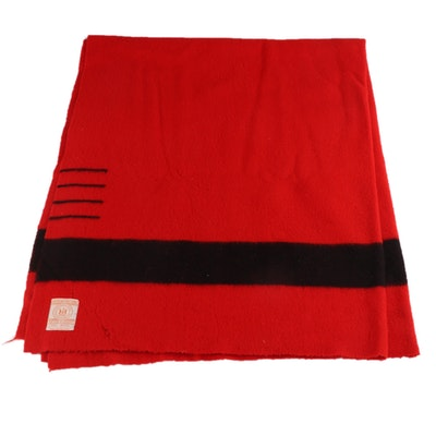 Hudson's Bay Red Four-Point Custom Size Wool Blanket, Mid-20th Century