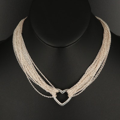 Tiffany & Co. Sterling Multi-Chain Heart Necklace