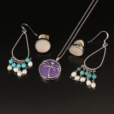 Sterling Dragonfly Necklace and Earrings Including Quartz, Pearl and Turquoise